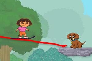 朵拉救狗狗画线版