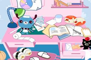 整理書桌和洗刷學生
